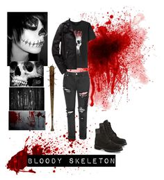 """""""Creepypasta Oc Bloody Skeleton"""" by pastelgothprincess27 ❤ liked on Polyvore featuring Glamorous, The Kooples, Superdry, Timberland, men's fashion and menswear"""