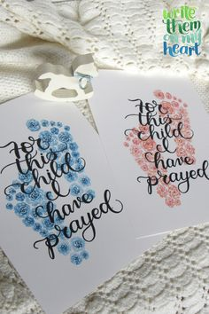 1 Samuel 1:27 in both pink and blue - both printable cards and wall art all in one set. Never buy a baby shower gift or card again! #christianbabygift #babyscripturecards Baby Scripture, Bible Verse Wall Art, Scripture Art, Christian Cards, Christian Gifts, Christian Apparel, 1 Samuel 1 27, Printable Cards, Printables