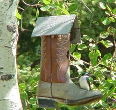 Dusty Green boot Birdhouse - love the muted colors!  See more birdhouses http://thegardeningcook.com/bird-houses/