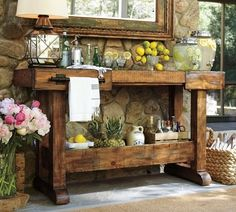 Rustic utility table for outdoor patio area. @ Home Design Ideas
