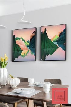 """Add a perfect pop of pink to the wall with these """"dreamy skies prints"""". All the prints are on canvas paper and are unstretched and unframed. Tv Decor, Rustic Wall Decor, Diy Wall Decor, Decor Ideas, Interior S, Decor Interior Design, Interior Decorating, Living Room Art, Living Room Designs"""