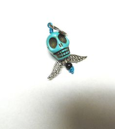 Big Daddy Turquoise Blue Skull Wings Keychain by sweetie2sweetie