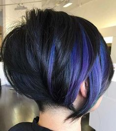 60 Gorgeous Long Pixie Hairstyles Black Bob With Purple Balayage Hair Color For Black Hair, Purple Hair, Purple Pixie Cut, Purple Bob, Purple Ombre, Ombre Hair, Purple Balayage, Purple Highlights, Balayage Bob