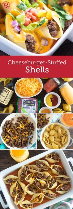 Cheeseburger flavors are stuffed into pasta shells and smothered in delicious cheese in this comforting twist on the classic fast food.