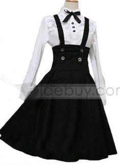 Black and White Cotton Lolita Dress for Sale