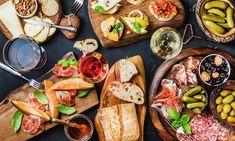 Italian antipasti wine snacks set over black grunge background By sonyakamoz¡¯s photos , Food Blogs, Italian Dishes, Italian Recipes, Italian Wine, Italian Snacks, Antipasto Platter, Eat Smarter, Meals For Two, Matcha