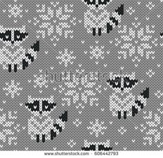 Raccoons jacquard knitted seamless pattern. Winter background with cute animals. Scandinavian style. Vector illustration.