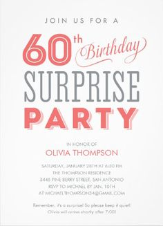 60th Birthday Surprise Party Invitations. #surprise_birthday_party