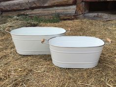 White Oval Buckets - Set of 2
