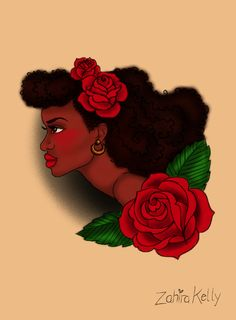 """afro lady head"" tattoo flash design -ZK [image description:zahira kelly, dominican art, afrolatina art, latina pin up, ladyhead, black pinup, afro pin up, ladyhead tattoo flash]"