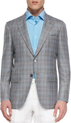 $2,895, Grey Plaid Wool Blazer: Isaia Wool Plaid Sport Coat Grayblue. Sold by Neiman Marcus. Click for more info: http://lookastic.com/men/shop_items/165257/redirect