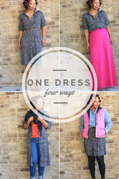 One Dress Styled Four Ways inspired and #sponsored by HP x360. 4 ways to wear, wardrobe basics, how to style, look for less, pink silk chiffon maxi skirt, denim shirt and vest