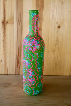 SUMMER SALE Hand Painted Wine bottle Vase Candy Apple Green