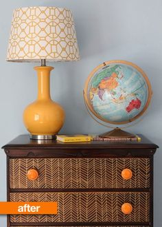 DIY: transform an old dresser with paint and use a gold paint pen to create a modern herringbone design on the drawers.