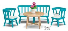 Buy online Lundby Smaland 2015 Blue Kitchen Furniture Set at best prices at Lyallway. Right choice for Online Shopping for Lundby products, friendly customer s Miniature Furniture, Doll Furniture, Dollhouse Furniture, Dining Table Chairs, Kitchen Chairs, Blue Kitchen Furniture, Natural Wood Table, Shops, Cushions On Sofa