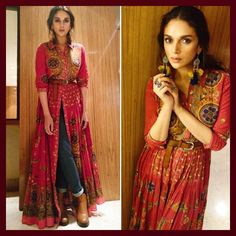 Actress @aditiraohydari wears #RituKumar printed flared kurta from the Festive Winter'17 collection. Shop the look online now #linkinbio
