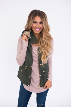 Hooded Faux Fur Vest- Olive* - Dottie Couture Boutique