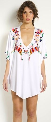 MARA HOFFMAN Embroidered Short Poncho Dress in White