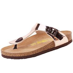 Devo Womens Comfortable Soft Footbed Gizeh Thong Sandals FlipFlops 6 BM US Rose Golden >>> Want additional info? Click on the image.