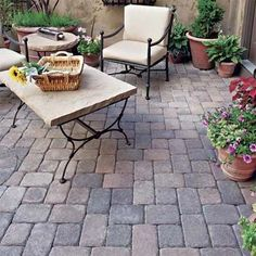 stone bricks instead of clay for more stability and longevity of the patio