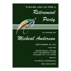 Shop Angler Fishing Lure Retirement Party Celebration Invitation created by fishing_hunting_tees. 60th Birthday Invitations, Retirement Party Invitations, Retirement Parties, Retirement Announcement, Fishing Lures, Fly Fishing, Personalized Invitations, Invitation Design, Rsvp