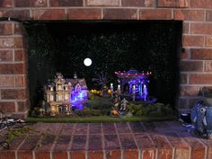 Department 56 Halloween Village Fireplace Diorama-very kewl idea.wish i had a fireplace! Halloween Diorama, Halloween Village Display, Halloween Miniatures, Halloween Decorations, Halloween Fireplace, Halloween House, Holidays Halloween, Disneyland Halloween, Halloween Fairy