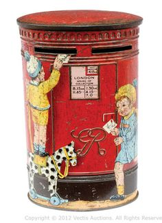 1930s tinplate mailbox tin. Originally toffee candy tin. London, England.