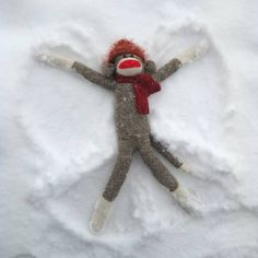 sock monkey snow angel
