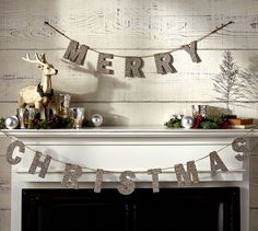 I am going to make this. Surely I can make it for cheaper than $40.00... German Glitter Merry Christmas Garland | Pottery Barn