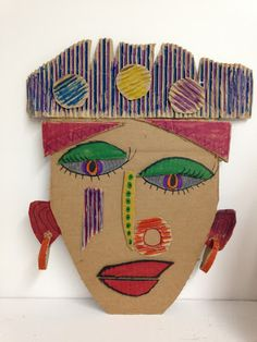 Art Sessions with Mary Deveau: Multi-media Masks – Cardboard masks kids can make… - Mask Making - Face Mask - Masquerade Mask - Mask Homemade Cardboard Mask, Cardboard Crafts, Masks Kids, Mask For Kids, Portraits Cubistes, Cubist Portraits, Kimmy Cantrell, Arte Elemental, Crafts For Kids