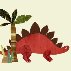 Large Red Stegosaurus Fabric Wall Sticker