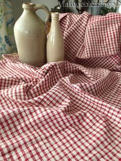 Antique French LINEN Red Plaid Textile Patched Early 52x30""