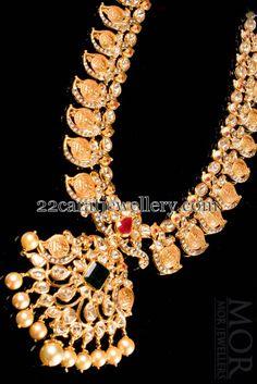 Jewellery Designs: kasulaperu with Mango Necklace twist by Mor Jewellers Mango Necklace, Necklace Set, Diamond Jewelry, Gold Jewelry, Jewelery, India Jewelry, Temple Jewellery, Indian Jewellery Design, Jewellery Designs