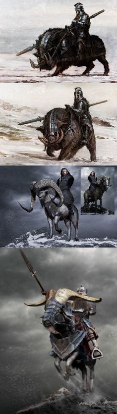 Dwarves on mounts
