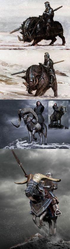 Dwarves on mounts