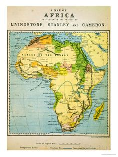 A Map of Africa to Illustrate the Travels of David Livingstone Giclee Print at AllPosters.com