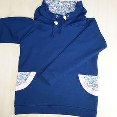 sweat enfant patron  sweat ado - sweat shirt liberty Sweat Shirt, Bleu Marine, Hooded Jacket, Athletic, Hoodies, Sweaters, Berlin, Jackets, Lounge