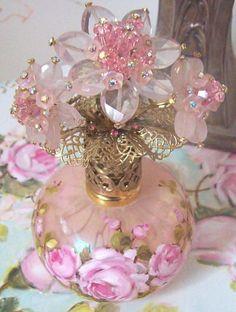 Vintage Pink Art Glass Perfume Bottle