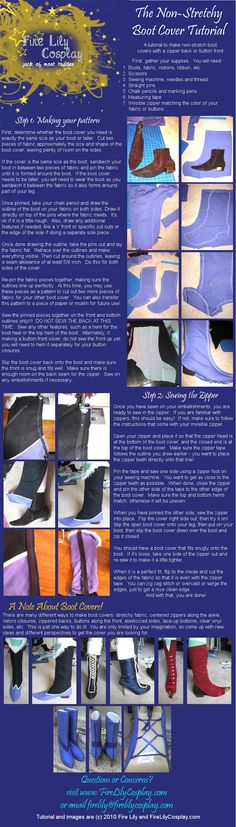WOW! Very awesome indeed. :D  Super useful. :)  No-Stretch Boot Cover Tutorial by *FireLilyCosplay on deviantART