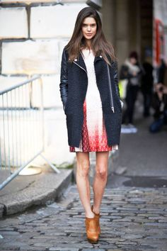 The perfect hemline ratio for jackets and short dresses #streetstyle