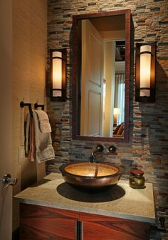 Rustic... Mirror, Bathroom, Powder Room, Furniture, Home Decor, Beautiful Homes, Tiny Spaces, Decorating, Trough Sink