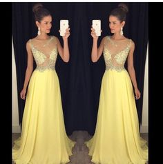luxury yellow long evening dresses 2017 new crystal beaded chiffon womens pageant gown for formal prom party vestido festa Glam Dresses, Sexy Dresses, Fashion Dresses, Formal Dresses, Formal Prom, Party Dresses, Yellow Evening Dresses, Chiffon Evening Dresses, Beaded Chiffon