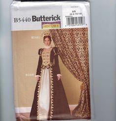 Misses Costume Sewing Pattern Butterick B5440 Elizabethan Queen Elizabeth Renaissance Dress Gown Size 6 8 10 12 or 14 16 18 20 UNCUT