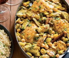 Braised Chicken with Artichokes and Olives from Epicurious, it is a one pot meal!