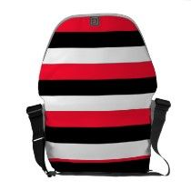 Red, white and black stripe messenger bag accessory. $94.35