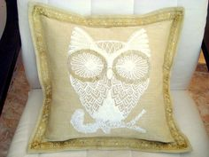 Hey, I found this really awesome Etsy listing at https://www.etsy.com/listing/209384258/gold-owl-vintage-16x16-pillow-cover