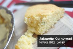 Jalapeño Cornbread - Mommy Hates Cooking  Cornmeal is naturally gf; I would use Mom's recipe but this is a good reminder of adding jalapeno, etc to it