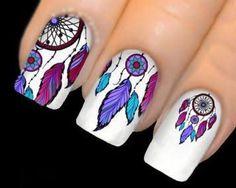 Resultado de imagen para uñas decoradas con atrapasueños y plumas #unasdecoradas