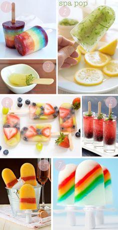 Popsicles:  1) rainbow, 2) lemonade cucumber, 3) mojito (!), 4) capri sun fruit punch, 5) blackberry prosecco, 6) mimosa, 7) double rainbow