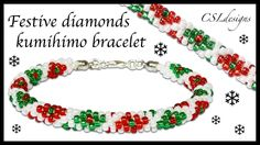 Festive diamonds beaded kumihimo bracelet ⎮ Christmas